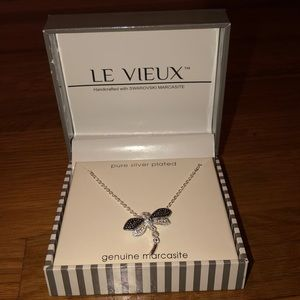 Le Vieux Silver Plated Dragonfly Necklace